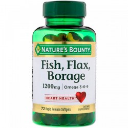 Купить Natures Bounty Fish, Flax, Borage + Omega 1200 mg Киев, Украина